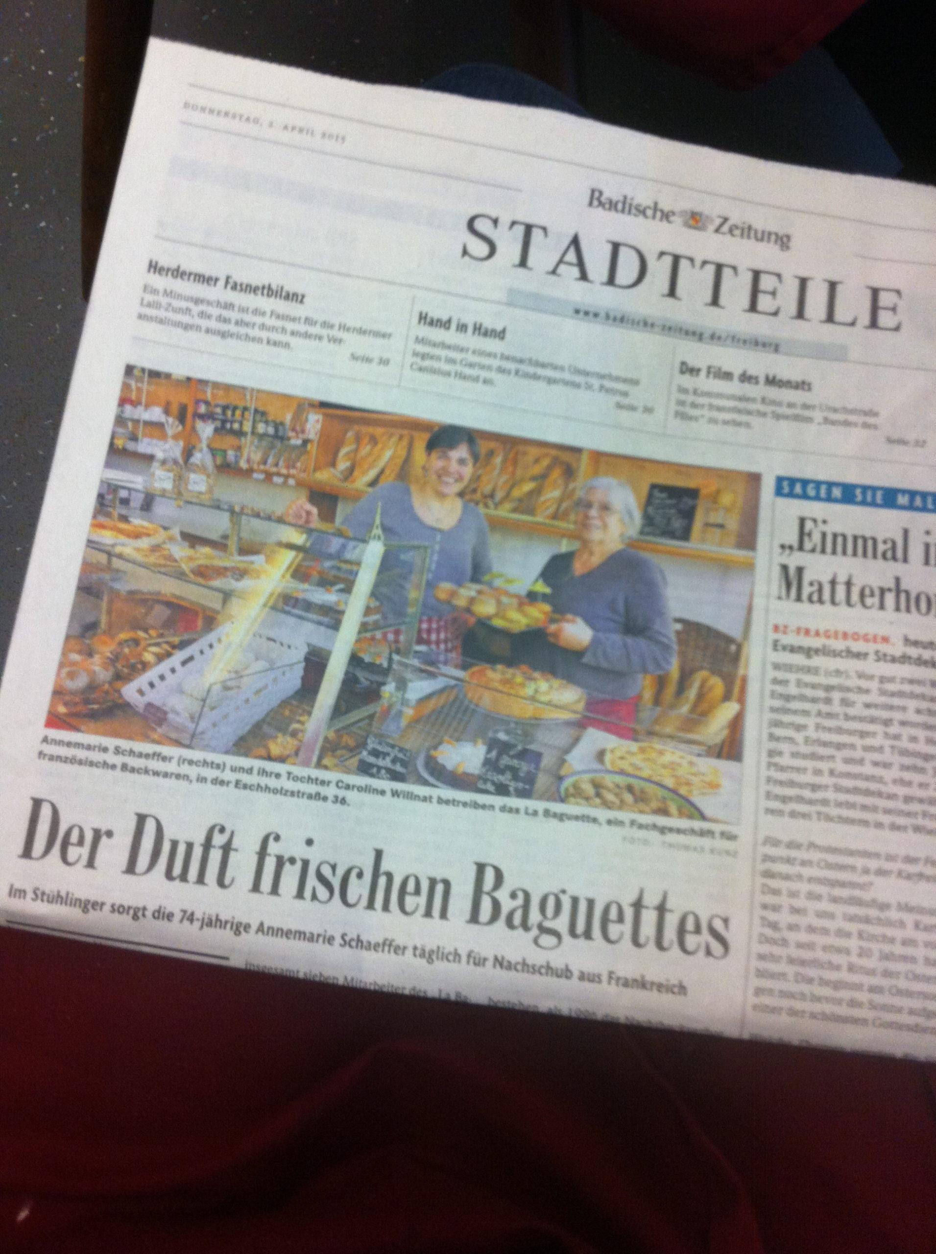 Der Duft frischen Baguettes (Badische Zeitung 02/04/2015)